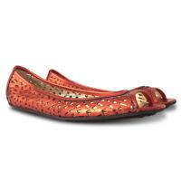NEW $382 JIMMY CHOO Cut Out Peep Toe Flats - Orange - Size 41