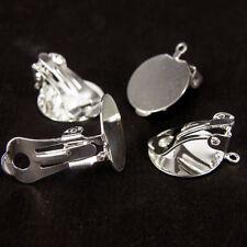 10 un 10mm Metal Redondo Plano Almohadilla Clip en Pendiente de plata tono hallazgos Base en Blanco