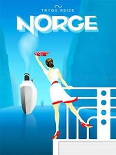 VINTAGE TRAVEL NORGE NORWAY SHIP ART POSTER PRINT LV5019