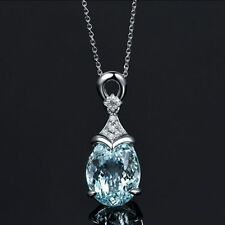 Vintage Gemstone Silver Natural Chain Aquamarine Jewelry Pendant Necklace