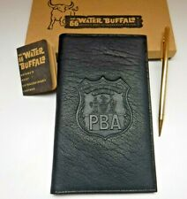 Vtg #66 Water Buffalo Leather Notebook Checkbook Cover Wallet NYC PBA Police NIB