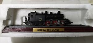 """Collectable """"MUCCA 500 CLASS"""" Model Train on Wooden Plinth New but box scruffy"""