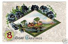 Vintage Postcard Birthday Greetings Pansies and Cottage