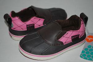 NEW NWT CROCS ALLCAST DUCK SHOES ESPRESSO BROWN / PINK rain shoes 9 10 12 1 2 3