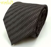 TOM FORD dramatic Black & Gray fine ZIGZAG silk jacquard MENS tie NWT Authentic!