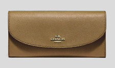 New Coach 54009 wallet Slim Envelope crossgrain Leather Light Saddle