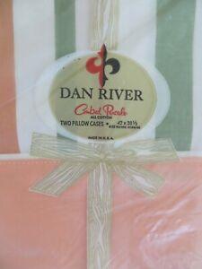 Vtg Dan River Cotton Percale Peach Green Stripe STD Pair Retro Pillowcases USA