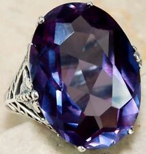 Color Changing Alexandrite 925 Sterling Silver Filigree Ring Jewelry Sz 7