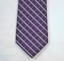 MICHAEL KORS Men's 100% Silk Dual Cord Grid Purple Checked / Plaid Tie NWT