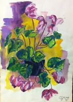 """VINTAGE ORIGINAL WATERCOLOR FLORAL STILL LIFE BY C.G. KING (22"""" W by 30"""" H)"""