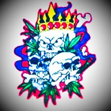 Professionally embroidered full colored marijuana -King Skulls patch