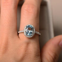 14K Solid White Gold Rings 2.30 Ct Oval Natural Diamond Aquamarine Wedding Ring