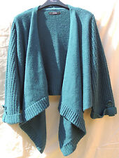 George - Green / Teal - Waterfall Open Knitted Cardigan - 3/4 Sleeve - 14