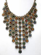 Art Deco Multi Color Rhinestone Bib Necklace Festoon Flower Chain Fringe Antique