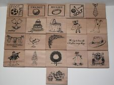 1 x Wooden Raised Rubber Stamp choose from Sports Christmas Wedding Flowers etc