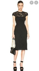 Victoria Beckham Corded Lace Gathered Cap Sleeve Black Midi Bodycon Dress UK 12