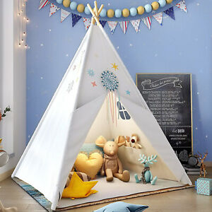 Large Canvas Kids Teepee Indian Tent 160cm Wigwam Indoor Outdoor Play House Gift
