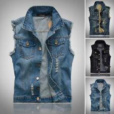 Herren Hip Hop Jacke Jeans-Weste Jeans Mantel Cool Kragen ärmelloses Shirt Biker