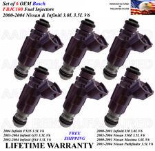 Set Of 6 Genuine Bosch Fuel Injectors For 2001 2004 Nissan Pathfinder 35l V6