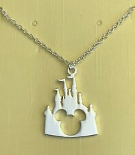 """Mickey Castle Icon Necklace Silver Plated Pendant 20"""" Chain Disney Vacation RTS"""