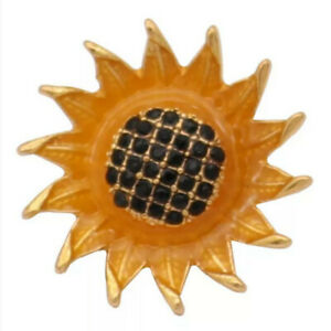 Snap Jewelry 3D Crystal Sunflower Gold 18-20mm Fits Ginger Charms Accessories