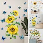 3D Sunflower Butterfly Sticker Living Room Home Background DIY Decal Decoration