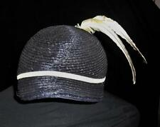 Hat Vintage Straw Navy 2 White Feathers! Esther's Shop Size 22 White Ribbon Trim
