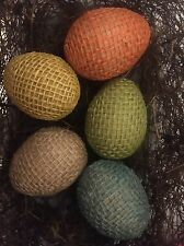 Primitive Handmade Easter Eggs Spring Jute Burlap Bowl Filler Rustic Multi Set/5