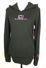 GP Girl Power To Love is to Live Black Thermal Hoody Hoodie Size Large Cotton