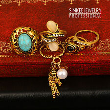 5Pcs/Set Ring Sets Antique Gold Turquoise pearl Tassels Rings For Women Jz593
