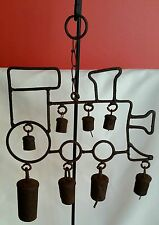 Vintage Rustic 8 Pods Metal Hanging Train Engine Wind Chimes Bells
