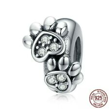 💖 Dog Cat Paw Spacer Stopper 925 Sterling Silver Charm Fit Bead Bracelet 💖