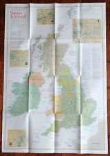 "National Geographic ""A Traveler's Map of Britain & Ireland"" Fold Map 1985"