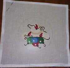 Handpainted Needlepoint Canvas Cowboy Hat Christmas Lights Ornament