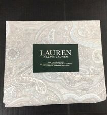 Ralph Lauren Twin Sheet Set Coral Beach Paisley Cotton Blue Grey 3 Pc New