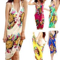 Women Chiffon Deep V Wrap Swimwear Bikini Cover Up Summer Sarong Beach Dress US