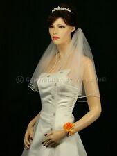 "Handmade 1T Ivory Short length 108"" Fullness Rattail Edge Bridal Wedding Veil"