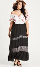 City Chic Black Lace Lined Gypsy Boho Romantic Winter Maxi Skirt Size XS 14