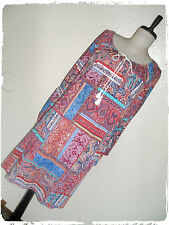 Paper Plane Patchwork Floral Filigree Paisley Bell Sleeve Peasant Shift Dress 2X
