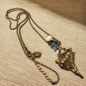 Betsy Johnson Necklace - Shell, Starfish , Pearl - Matinee length