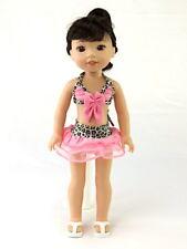 "14.5"" Doll Animal Print Bathing Suit fits 14.5"" Doll Pink Bikini Skirt Swimsuit"
