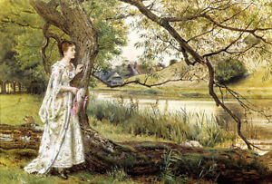 Dream-art Oil painting george goodwin kilburne - young beauty on the river bank