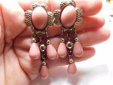 Vintage gold tone metal pink Cabochon Bead dangle pierced earrings