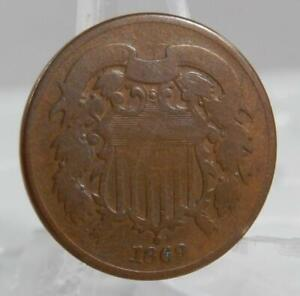 1869 Two Cent Piece 2 Cents 2C Coin C2694