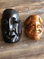 Japan Wooden masks Daikokuten Wall decoration Set Of Two
