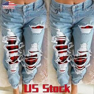Women Ripped Tassel Jeans  High Waist Denim Pants Ladies Plaid Straight Trousers
