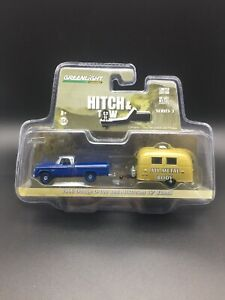 Greenlight Hitch & Tow 1966 Dodge D-100 Airstream 16' Bambi Camper Trailer 1/64