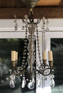 Vintage French Glass Clear Murano Crystal Drops Macaroni Beaded Chandelier 18""