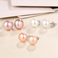 8mm Genuine s925 Sterling Silver Classic Natural Freshwater Pearl Stud Earrings