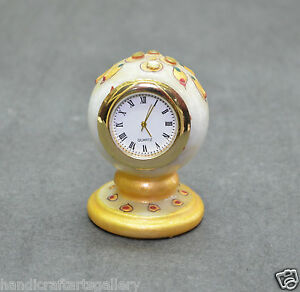 """30"""" White Marble Decorative Clock Jaipuri Hand Carved Home Decorative Gifts H694"""